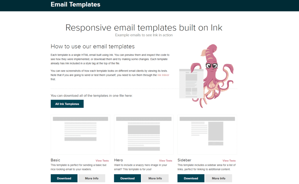 html email templates on Litmus on Zurb